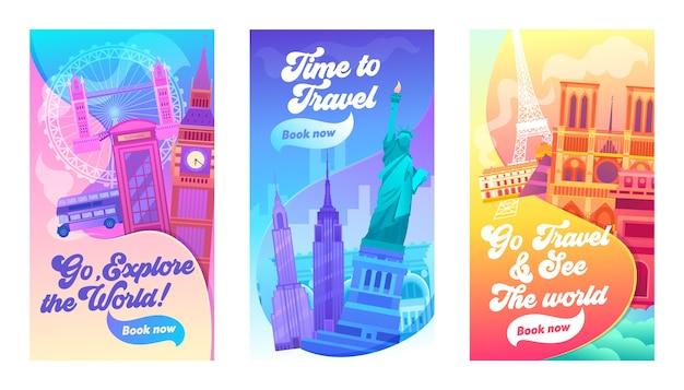 Explore el conjunto de banners de tipografía mundial. vacaciones en reino unido, américa y francia. tiempo para viajar y visitar la vista de londres, nueva york o parís. ilustración de vector de dibujos animados plana