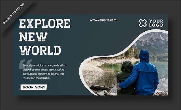 Explore el diseño de la publicación de banner del nuevo mundo