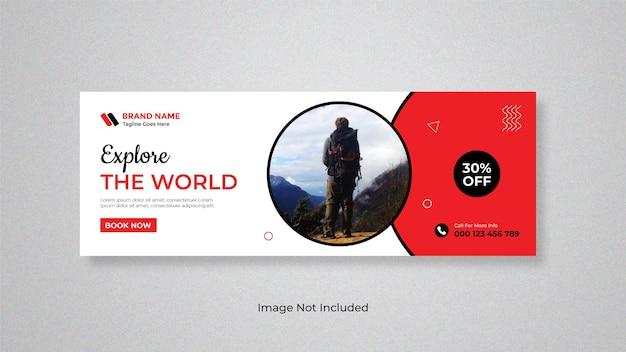 Explore el mundo o viaje diseño de banner web para redes sociales