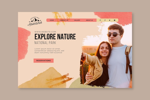 Explore la plantilla de página de destino de senderismo por la naturaleza