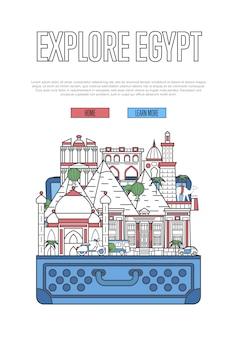 Explore la plantilla web de egipto con la maleta abierta
