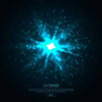 Explosión abstracta iluminada 3d, partículas brillantes.