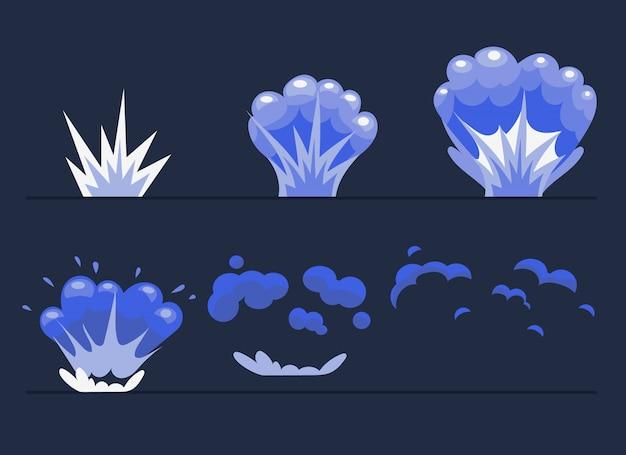 Explosión, animación de efecto de explosión de dibujos animados.