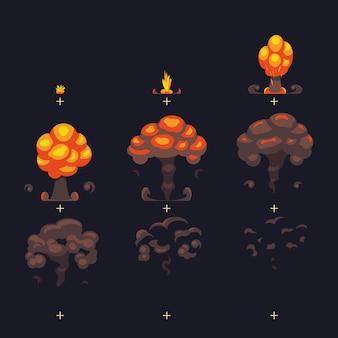 Explosión de bomba atómica de dibujos animados