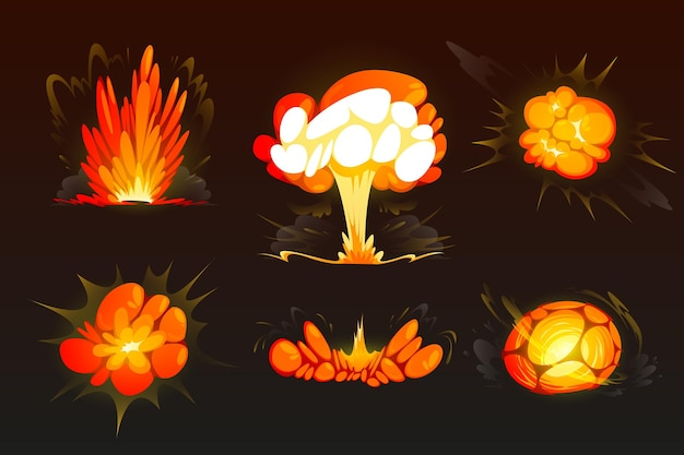 Explosión de bomba de dibujos animados establece efecto boom de nubes