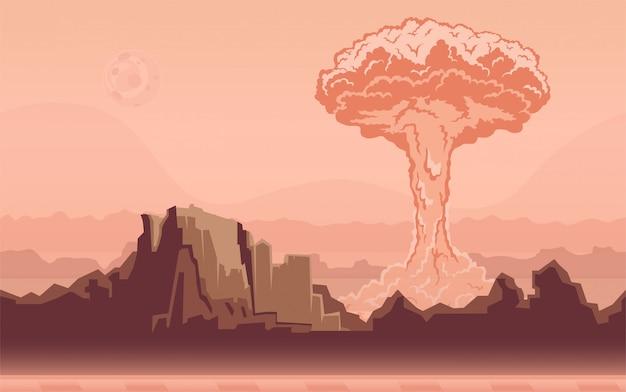 Explosión de una bomba nuclear en el desierto. nube en forma de hongo. ilustración.