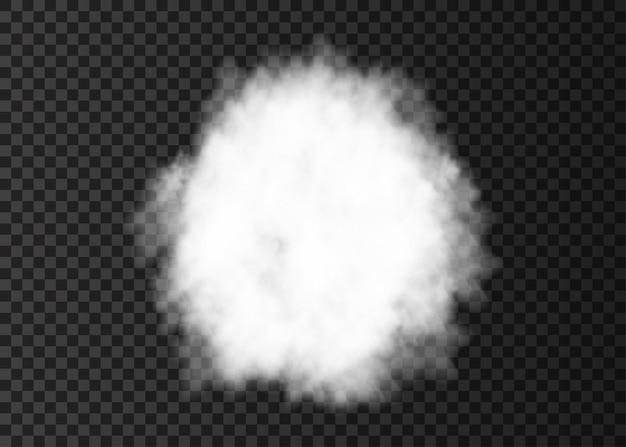 Explosión. círculo de humo blanco. pista de niebla en espiral aislada sobre fondo transparente. nube de vector realista o textura de vapor.
