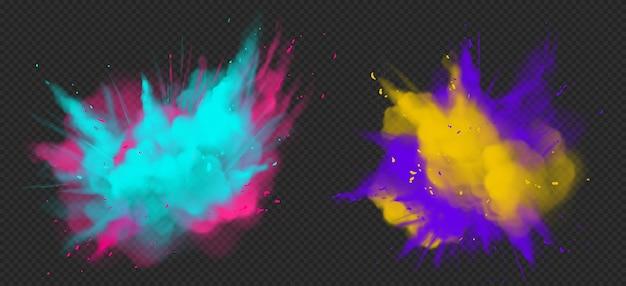 Explosión de color de polvo de pintura holi realista