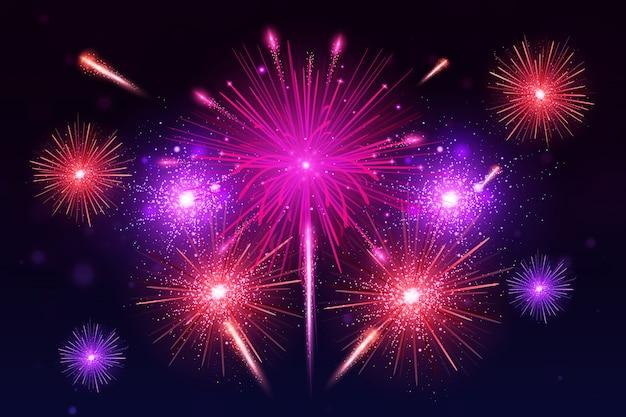 Explosión de coloridos fuegos artificiales