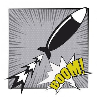 Explosión de cómic pop art cartoon en blanco y negro