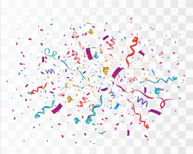 Explosión de confeti explosión. color volando cintas y serpentinas. fondo de fiesta de cumpleaños
