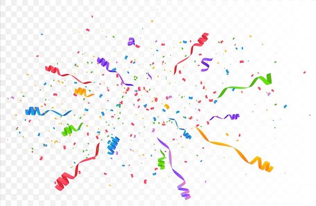 Explosión de confeti explosión. color volando cintas y serpentinas.
