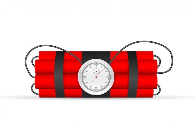 Explosión de cuenta regresiva. tnt bomba de tiempo con reloj