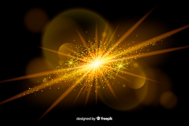 Explosión dorada efecto de partículas
