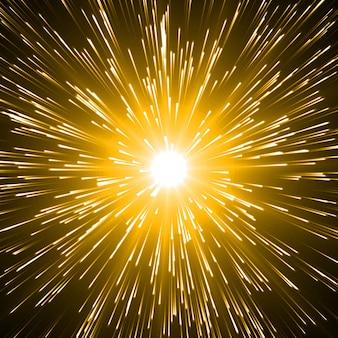 Explosión de energía con partículas y senderos suaves de energía.