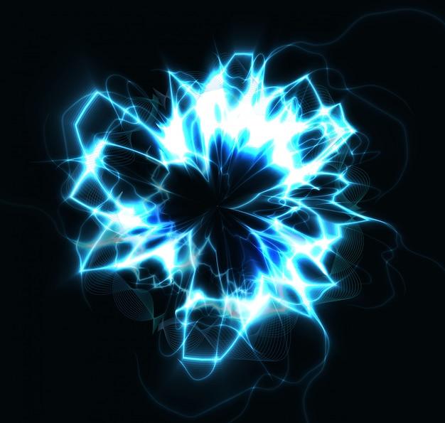 Explosión de energía de rayo redondo azul círculo eléctrico, bola de fuego flash bola mágica ilustración