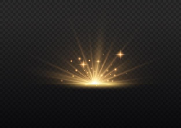 Explosión de estrellas sobre fondo transparente, rayos de sol de luces de resplandor amarillo.