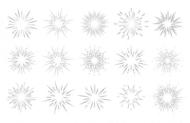 Explosión de estrellas, sol estalló el sol. irradiando desde el centro de vigas delgadas, líneas.