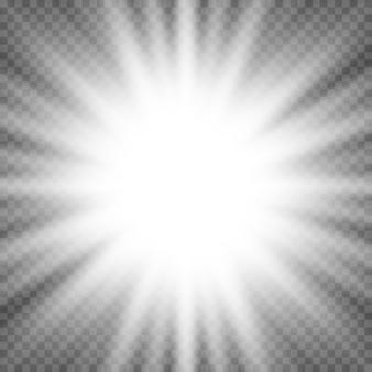 Explosión de explosión de destello de luz brillante blanca sobre fondo transparente