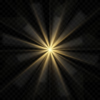 Explosión de explosión de luz brillante dorada o blanca transparente, ilustración para decoración de efecto fresco con destellos de rayos. lucero. brillo degradado de brillo transparente, llamarada brillante.