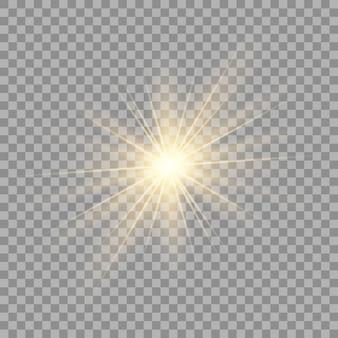 Explosión de explosión de luz brillante dorada o blanca transparente.
