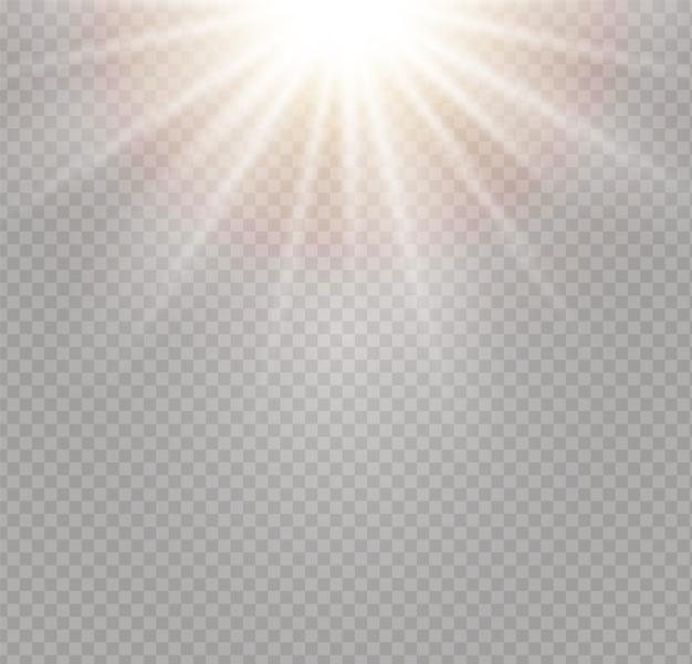 Explosión de explosión de luz brillante. efecto de luz con rayo. lucero. sol brillante, llamarada brillante.