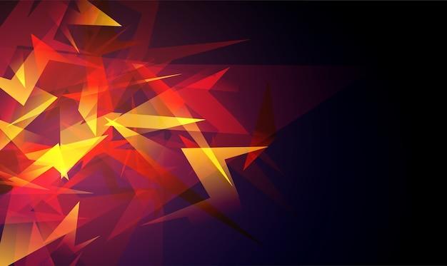 Explosión de formas abstractas rojas. fragmentos de vidrio roto.