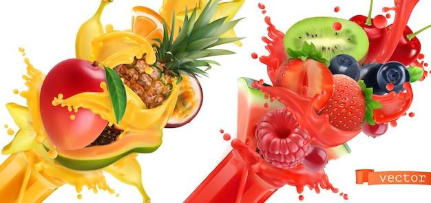 Explosión de frutas. chorrito de jugo. frutas tropicales dulces y bayas mixtas.