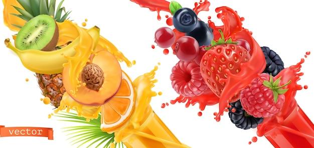 Explosión de frutas. chorrito de jugo. frutas tropicales dulces y frutos del bosque mixtos.