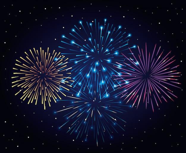 Explosión de fuegos artificiales en el cielo nocturno oscuro, celebración del año nuevo