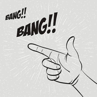 Explosión. gesto manual