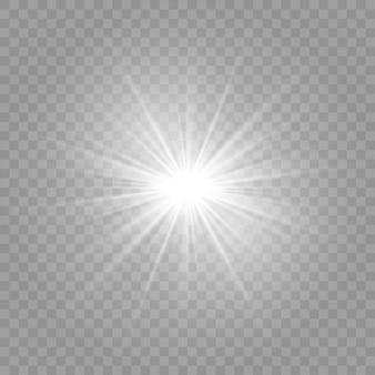 Explosión de luz blanca brillante explosión con transparente.