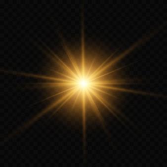 Explosión de luz brillante de oro estalló con transparente.