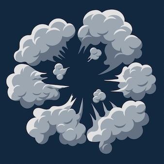 Explosión de nube de humo. vector de marco de dibujos animados de soplo de polvo