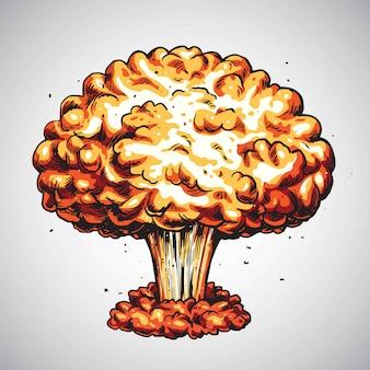 Explosión nuclear bomba atómica seta nube ilustración