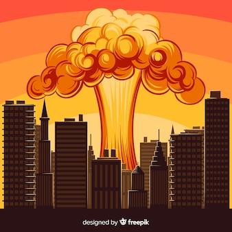 Explosión nuclear en una ciudad dibujos animados