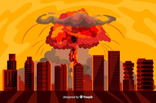 Explosión nuclear en una ciudad estilo dibujos animados