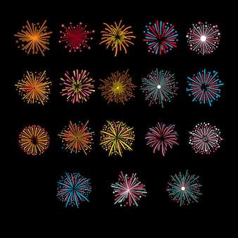 Explosión de saludo festivo de fuegos artificiales de oro. illustartion