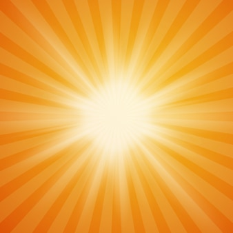 Explosión de sol de verano sobre fondo naranja con rayos de luz.