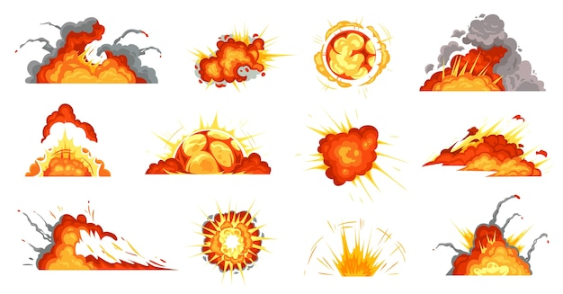 Explosiones de dibujos animados. explosión de bomba, nube de fuego y explosión.