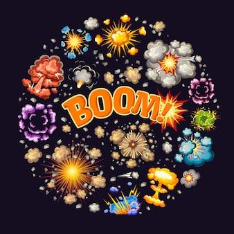 Explosiones efectos diseño redondo
