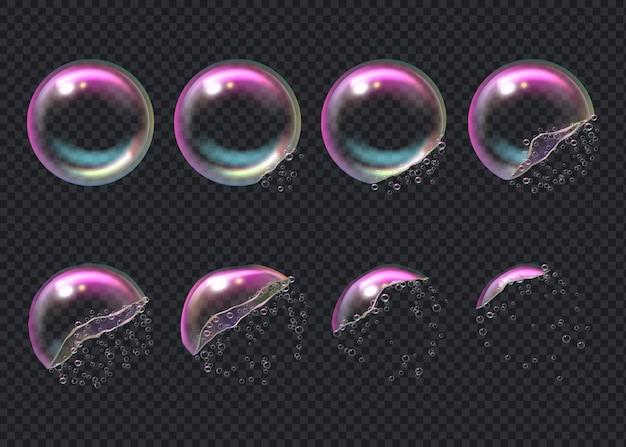 Explotar burbujas. fotogramas clave de burbujas transparentes deformadas aqua esfera gotas líquidas brillantes realistas