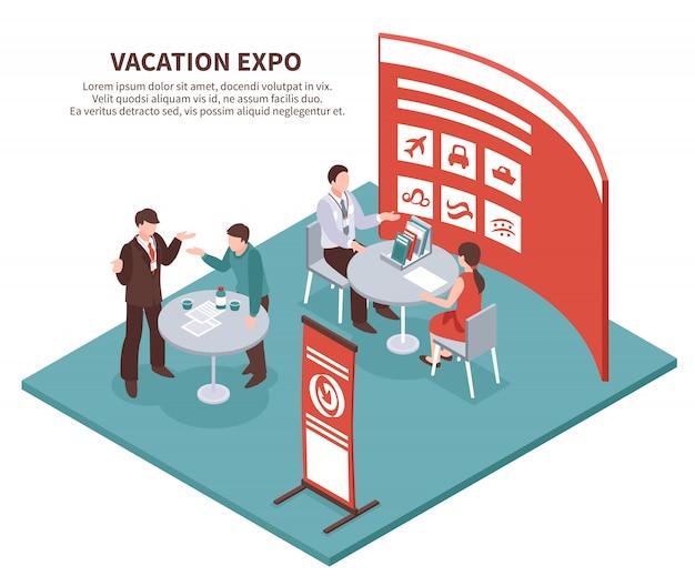 Expo de vacaciones isométrica