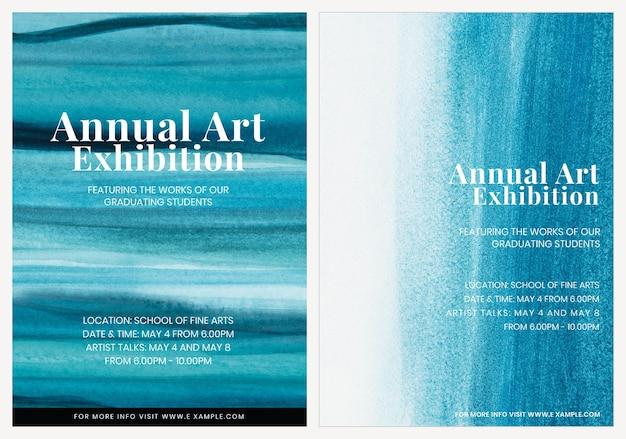Exposición de arte acuarela plantilla vector estético anuncio cartel doble conjunto