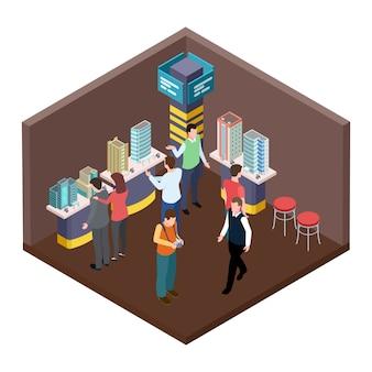 Exposición de bienes raíces, concepto isométrico de apartamentos.