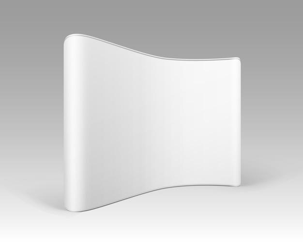 Exposición comercial en blanco blanco pop up stands para presentación sobre fondo blanco.