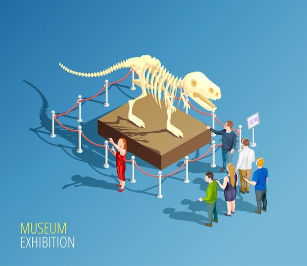 Exposición de dinosaurios composición de fondo