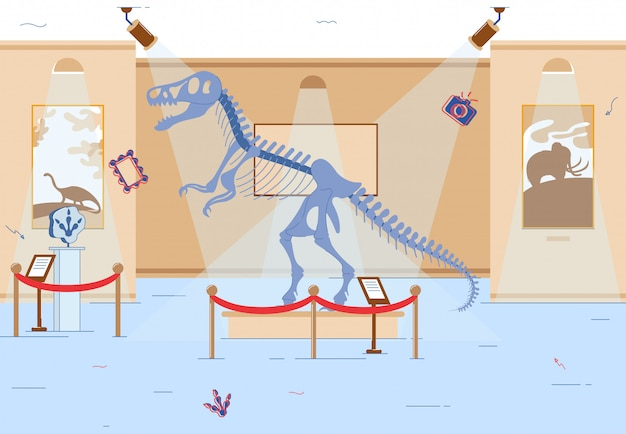 Exposición de la era mesozoica en el museo histórico local