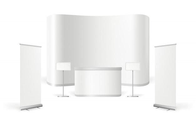 Exposición espacio en blanco. artículos publicitarios promocionales stands pancartas tableros y escritorios puestos con pantalla vector realista