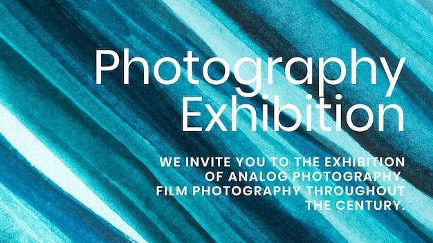 Exposición de fotografía acuarela plantilla vector estética blog banner anuncio